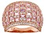 Pink and White Cubic Zirconia 18k Rose Gold Over Sterling Silver Ring 4.86ctw