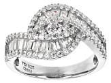 white cubic zirconia rhodium over sterling silver ring 1.67ctw
