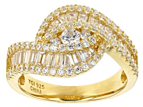 white cubic zirconia 18k yellow gold over sterling silver ring 1.67ctw