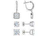white cubic zirconia rhodium over sterling earrings set of 3 20.28ctw