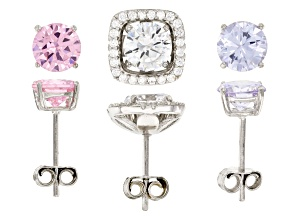 pink, purple and white cubic zirconia rhodium over sterling silver earrings set 8.95ctw