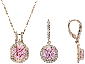 pink and white cubic zirconia 18k rg over sterling silver pendant with chain and earrings 10.92ctw