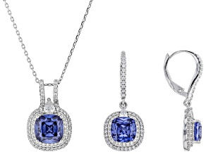 blue and white cubic zirconia rhodium over sterling silver pendant with chain and earrings 10.92ctw