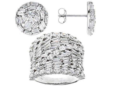 white cubic zirconia rhodium over sterling silver jewelry set 12.52ctw