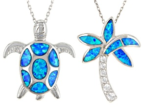 lab created blue opal and white cubic zirconia rhodium over sterling pendant set 6.00ctw