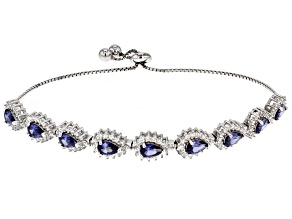 blue and white cubic zirconia rhodium over sterling silver adjustable bracelet 6.75ctw