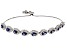 blue and white cubic zirconia rhodium over sterling adjustable bracelet 6.75ctw