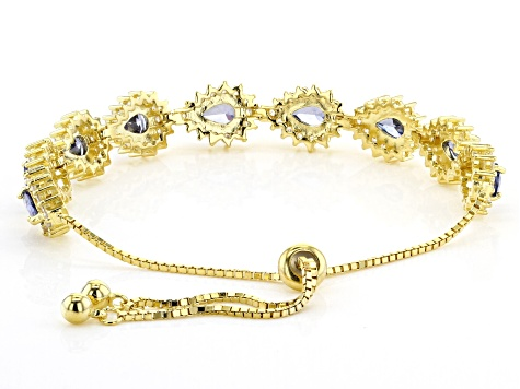 blue and white cubic zirconia 18k yellow gold over sterling silver adjustable bracelet 6.75ctw