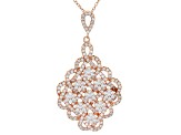 white cubic zirconia 18k rg over sterling silver pendant with chain 3.50ctw