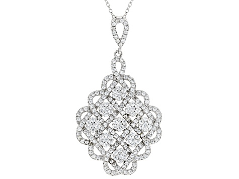 white cubic zirconia rhodium over sterling silver pendant with chain 3.50ctw