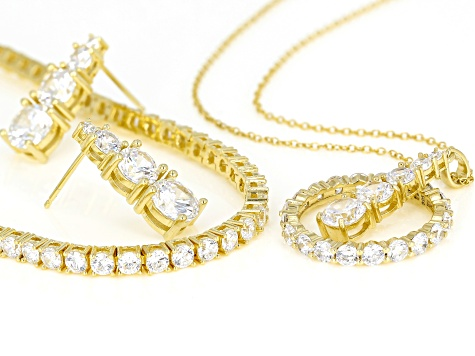 White Cubic Zirconia 18k Yellow Gold Over Sterling Silver Jewelry Set 27.70ctw