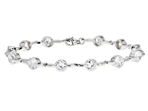 white cubic zirconia rhodium over sterling silver bracelet 18.75ctw