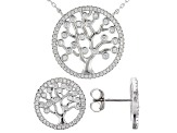 White Cubic Zirconia Rhodium Over Sterling Silver Necklace and Earrings 3.75ctw