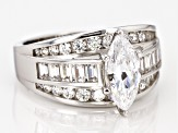 white cubic zirconia rhodium over sterling silver ring 3.46ctw