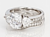 white cubic zirconia rhodium over sterling silver ring with band 4.88ctw
