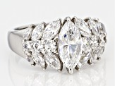 white cubic zirconia platinum over sterling silver ring 4.13ctw