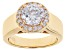 White Cubic Zirconia 18k Yellow Gold Over Sterling Silver Ring 2.47ctw