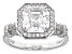 white cubic zirconia rhodium over sterling silver ring 3.52ctw