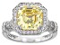 yellow and white cubic zirconia rhodium over sterling silver ring 3.52ctw