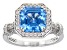 Lab Blue Spinel and White Cubic Zirconia Rhodium Over Sterling Silver Ring 3.52ctw