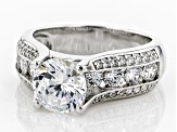 white cubic zirconia platinum over sterling silver ring 3.62ctw