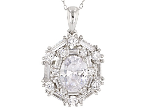 White Cubic Zirconia Rhodium Over Sterling Silver Pendant With Chain and Ring 10.03ctw