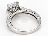 White Cubic Zirocnia Rhodium Over Sterling Silver Ring With Band 1.30ctw