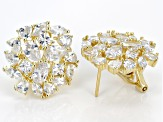 White Cubic Zirconia 18k Yellow Gold Over Sterling Silver Earrings 13.00ctw