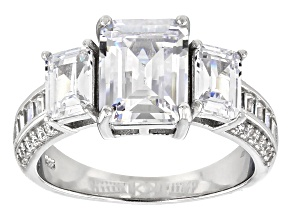 White Cubic Zirconia Rhodium Over Sterling Silver Ring 7.63ctw