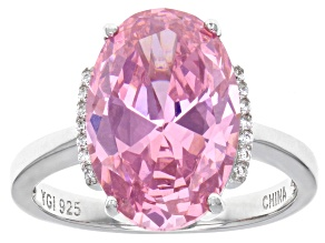 Pink and White Cubic Zirconia Rhodium Over Sterling Silver Ring 15.02ctw
