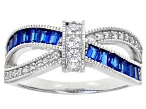 Blue Lab Created Spinel and White Cubic Zirconia Rhodium Over Sterling Silver Ring 1.47ctw