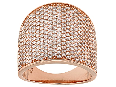 White Cubic Zirconia 18k Rose Gold Over Sterling Silver Ring 3.67ctw