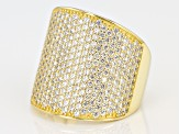 White Cubic Zirconia 18k Yellow Gold Over Sterling Silver Ring 3.67ctw