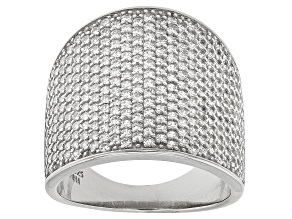 White Cubic Zirconia Rhodium Over Sterling Silver Ring 3.67ctw