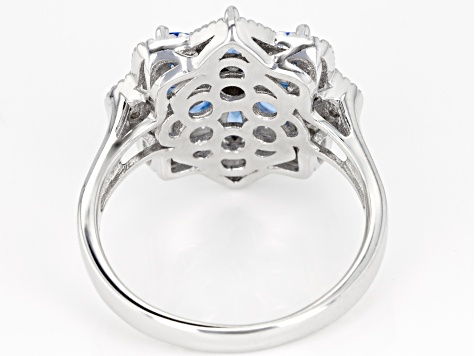 Blue Lab Created Spinel and White Cubic Zirconia Rhodium Over Sterling Silver Ring 2.36ctw