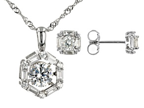 White Cubic Zirconia Rhodium Over Silver Pendant & Earrings Set 3.38ctw