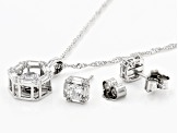 White Cubic Zirconia Rhodium Over Silver Pendant & Earrings Set 4.42ctw