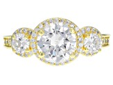 White Cubic Zirconia 18k Yellow Gold Over Sterling Silver Ring 5.06ctw