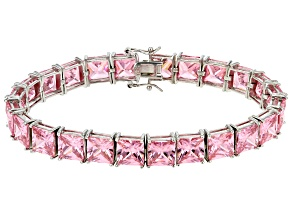 pink cubic zirconia rhodium over sterling silver bracelet 62.00ctw