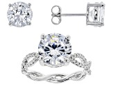 white cubic zirconia rhodium over sterling silver ring and earrings 10.80ctw