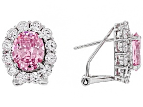 pink and white cubic zirconia rhodium over sterling silver earrings 12.00ctw