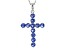 Blue Cubic Zirconia Rhodium Over Sterling Silver Cross Pendant With Chain 1.47ctw