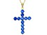 Blue Cubic Zirconia 18K Yellow Gold Over Silver Cross Pendant With Chain 1.47ctw