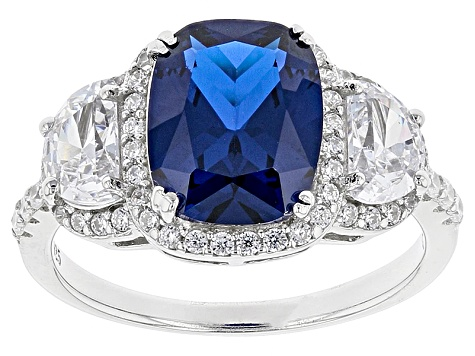 Blue Synthetic Spinel And White Cubic Zirconia Sterling Silver Ring 5.29ctw