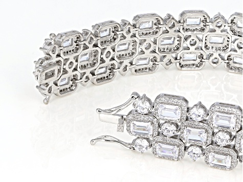 White Cubic Zirconia Rhodium Over Sterling Silver Bracelet 62.40ctw