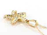 White Cubic Zirconia 10k Yellow Gold Starfish Pendant With Chain 0.15ctw