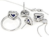 Lab Created Sapphire & White Cubic Zirconia Rhodium Over Silver Heart Jewelry Set 4.50ctw