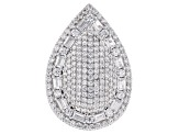 white cubic zirconia rhodium over sterling silver ring 6.01ctw