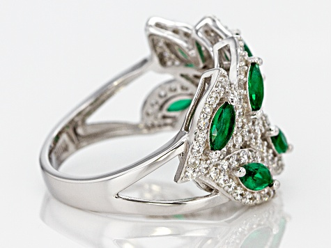 Green and White Cubic Zirconia Rhodium Over Sterling Silver Ring 3.46ctw