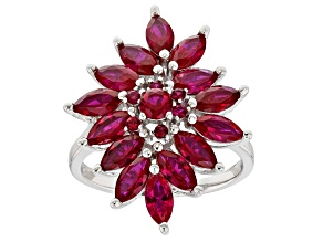 Lab Created Ruby Rhodium Over Sterling Silver Ring 6.17ctw